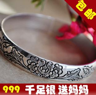 包邮特价 s999千足银手镯老银匠复古女款99纯银手镯 送妈妈银镯子