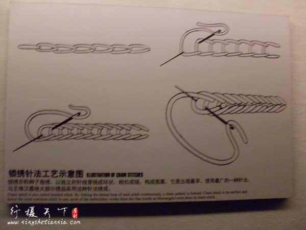 锁绣针法,马王堆汉墓绝大部分绣品采用这种针法绣成。