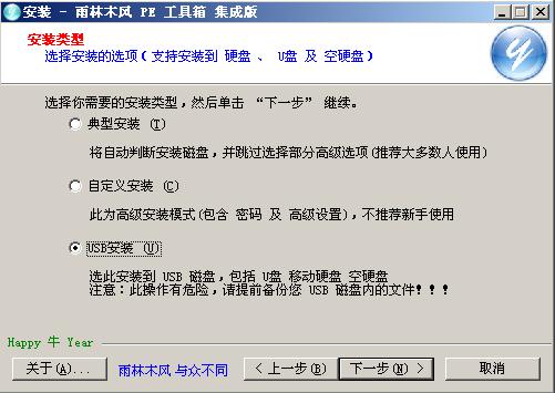 雨林木风PE工具箱启动界面选择USB安装