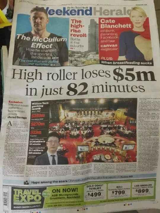 今天一位华裔男子上了新西兰先驱报的头条